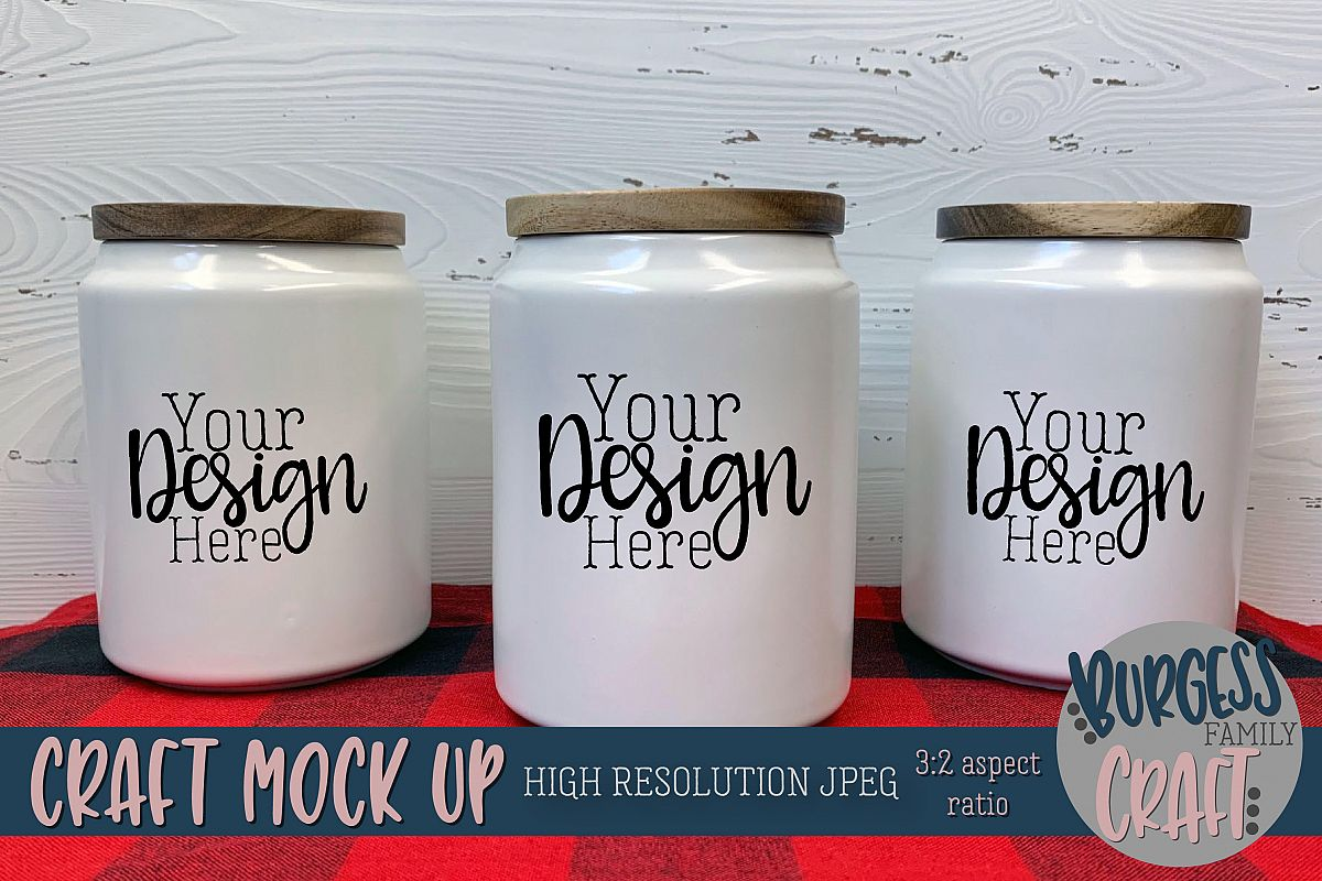 Ceramic canister & plaid Craft mock up |High Resolution JPEG example image 1