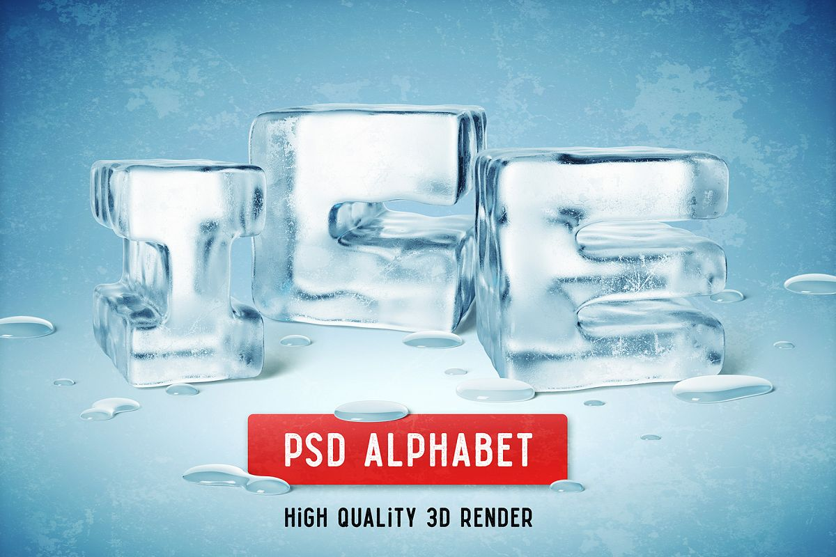 Ice PSD Alphabet example image 1