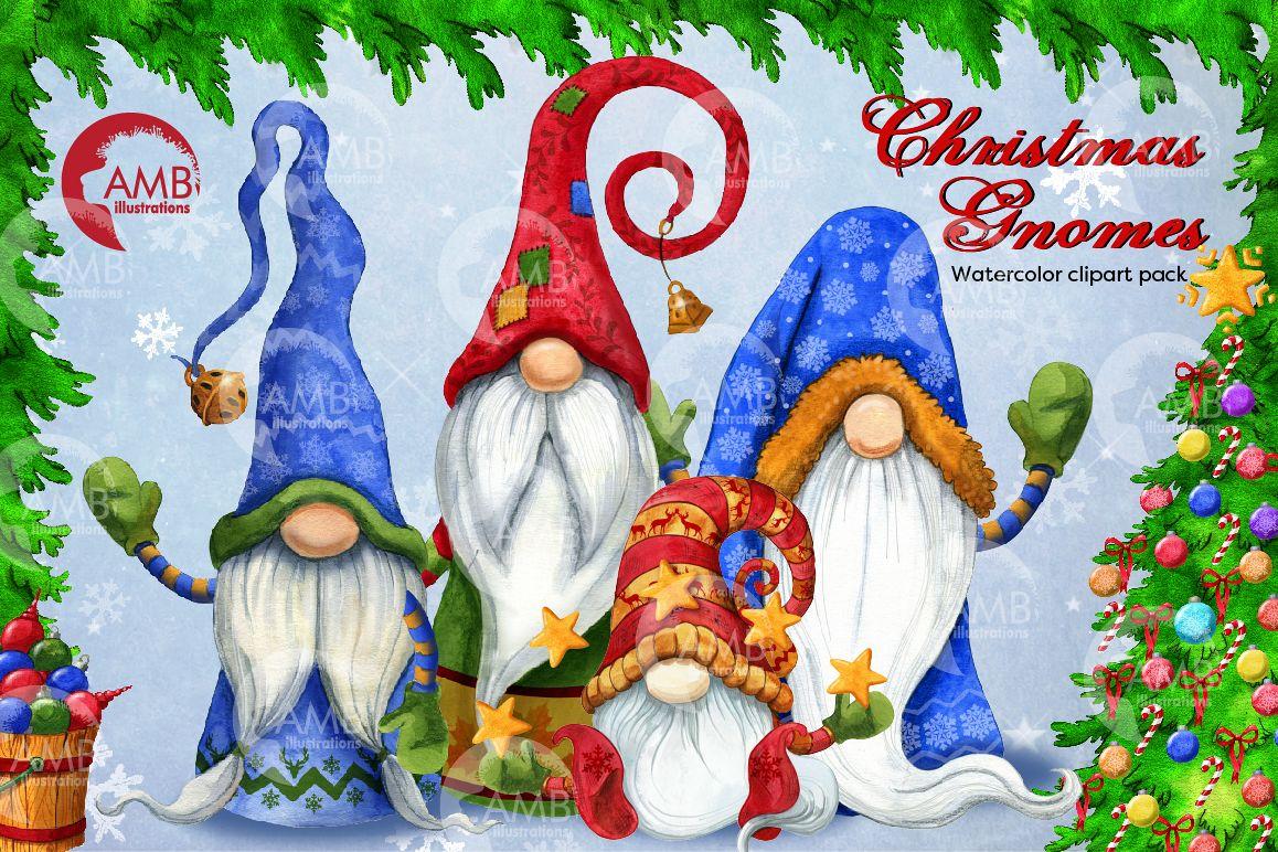 Christmas Gnomes, Scandinavian Gnomes, Watercolour Gnomes, example image 1