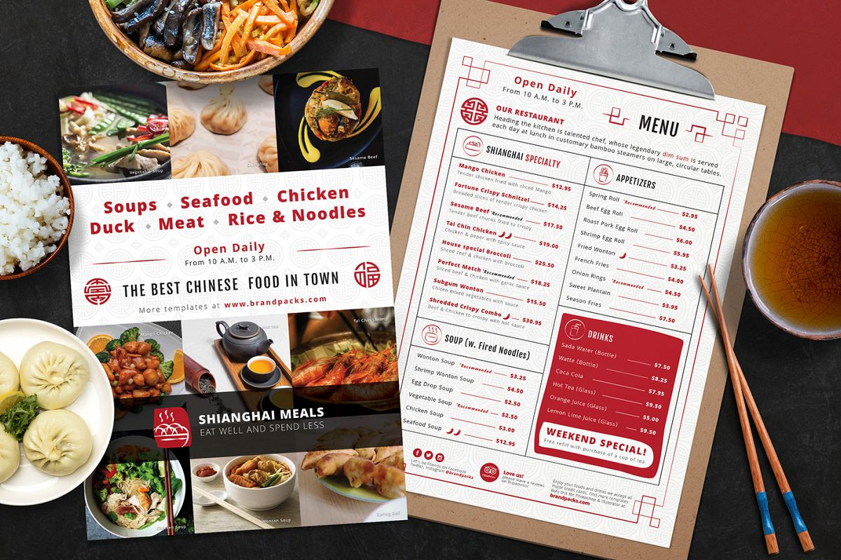 Chinese Menu & Flyer Template example image 1