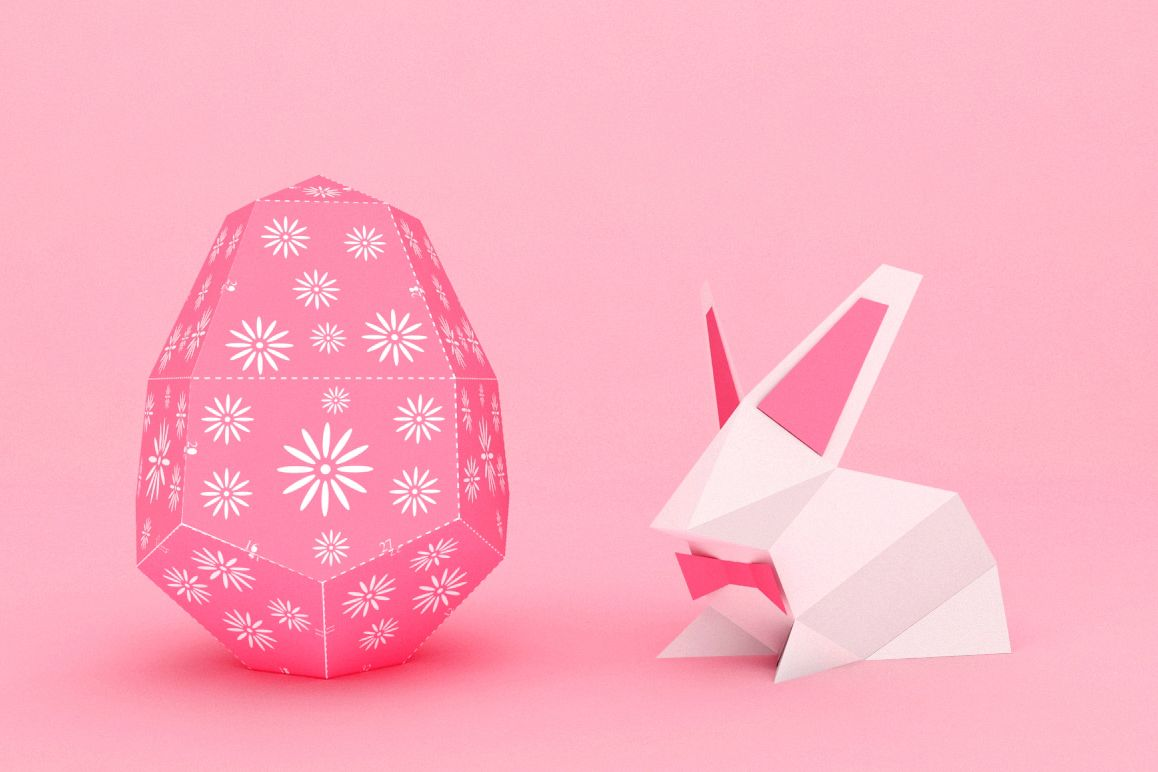 DIY Easter Egg & bunny - 3d papercraft example image 1