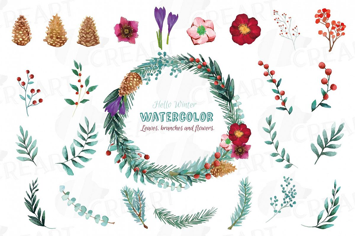 Winter flowers and leafs clip art pack, watercolor floral example image 1