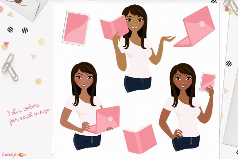 Woman teacher character clip art L120 Zoe example image 1