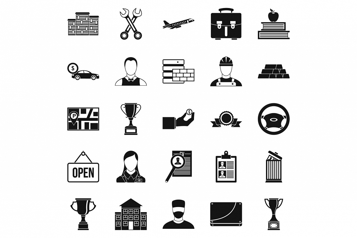 Exchequer icons set, simple style example image 1