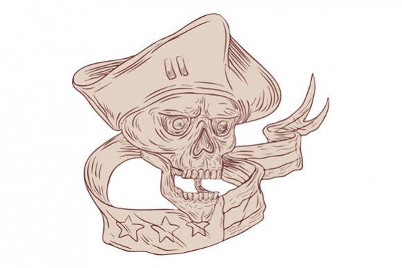 Skull Patriot Ribbon Flag Drawing example image 1