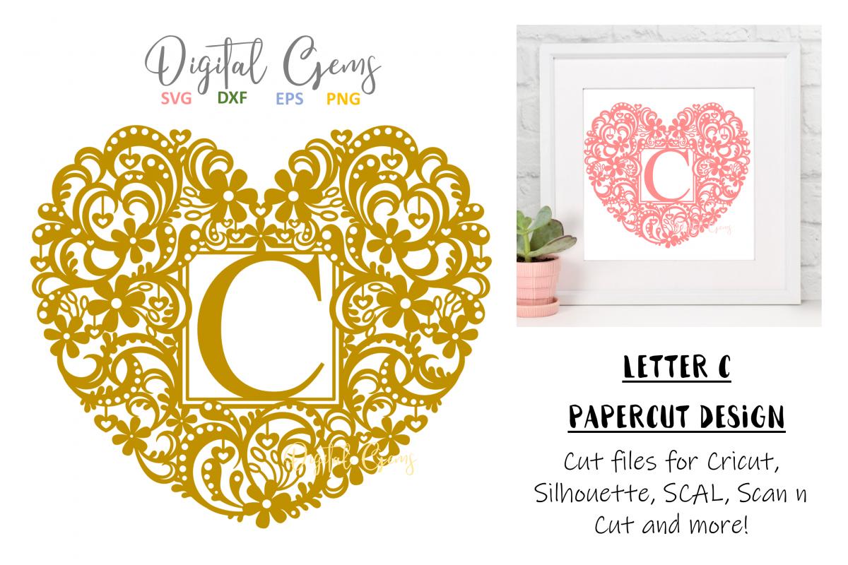 Letter C paper cut design. SVG / DXF / EPS / PNG files example image 1