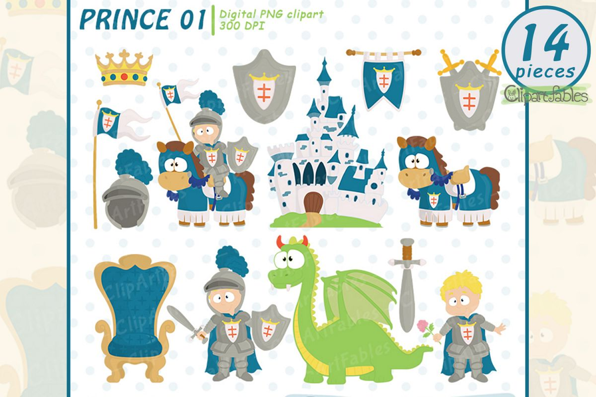 Cute KNIGHT clipart, Fairy tale clip art, PRINCE clip art example image 1
