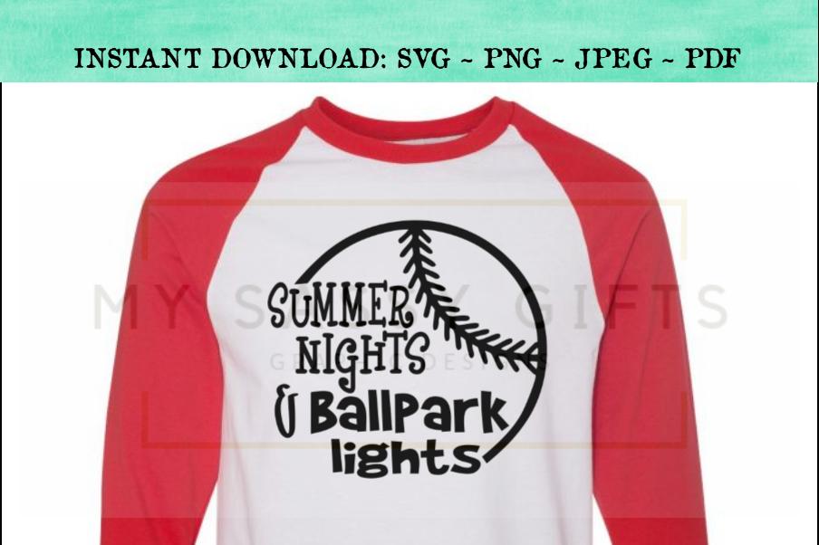 a472250d3425 Summer Nights and Ballpark Lights Baseball SVG example image 1