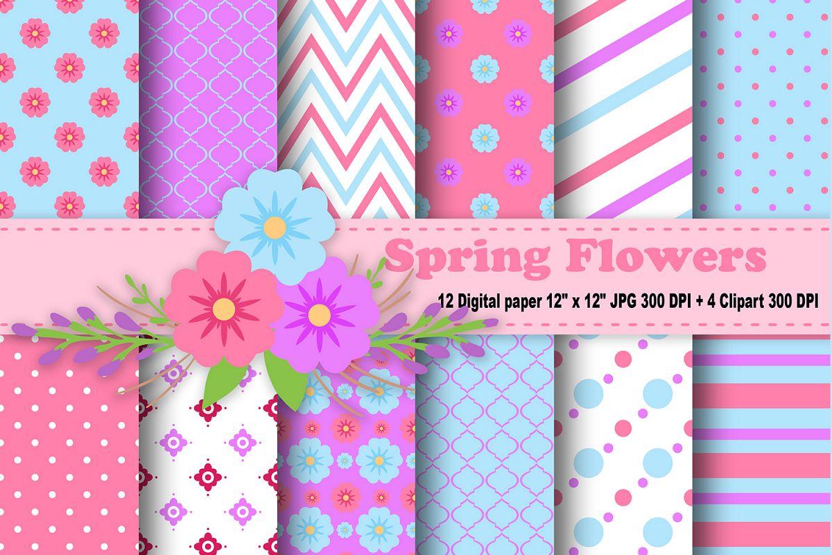Flower Digital Paper Floral Background Design Bundles
