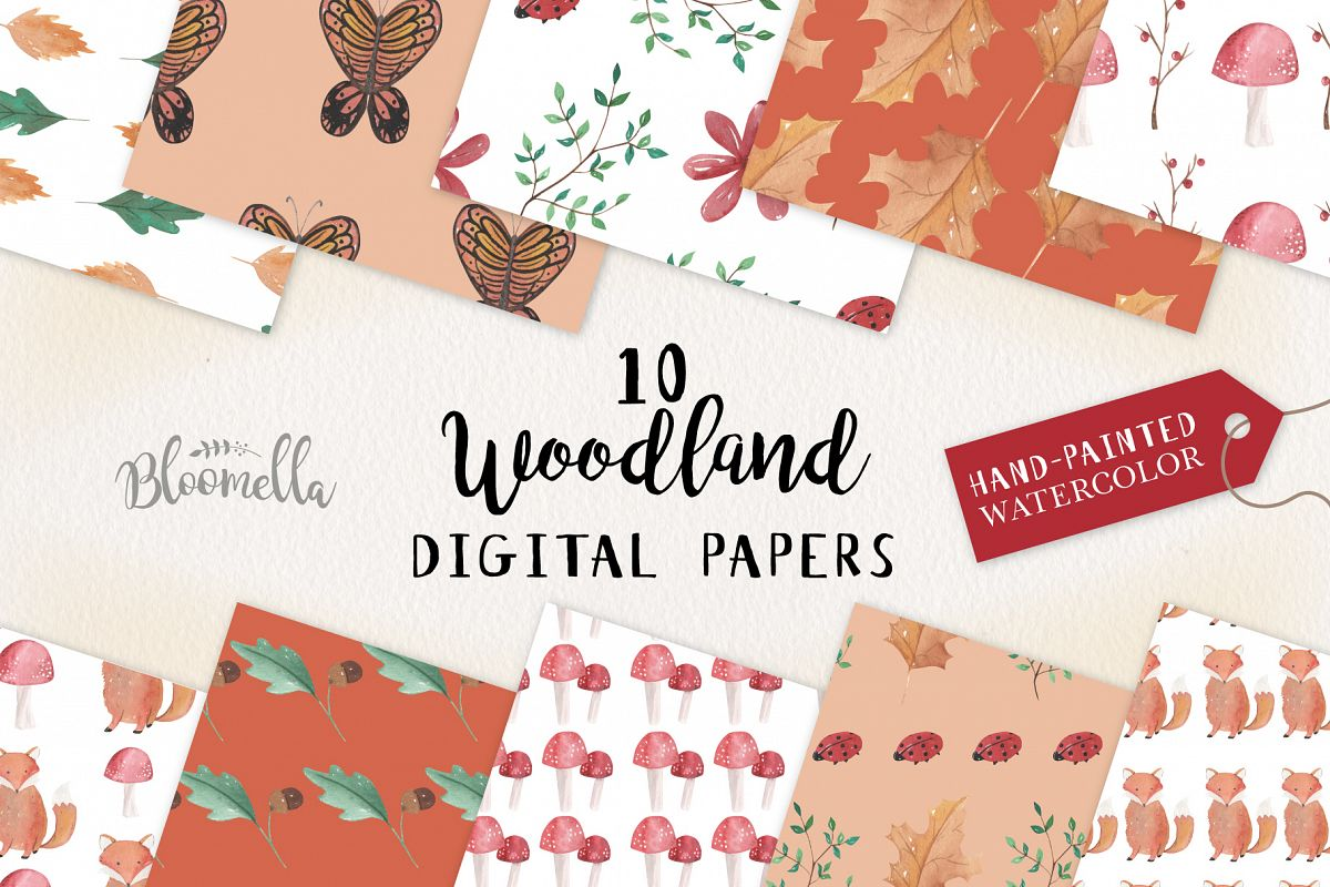 Woodland Seamless Patterns Digital Papers Fox Leaves Fall example image 1