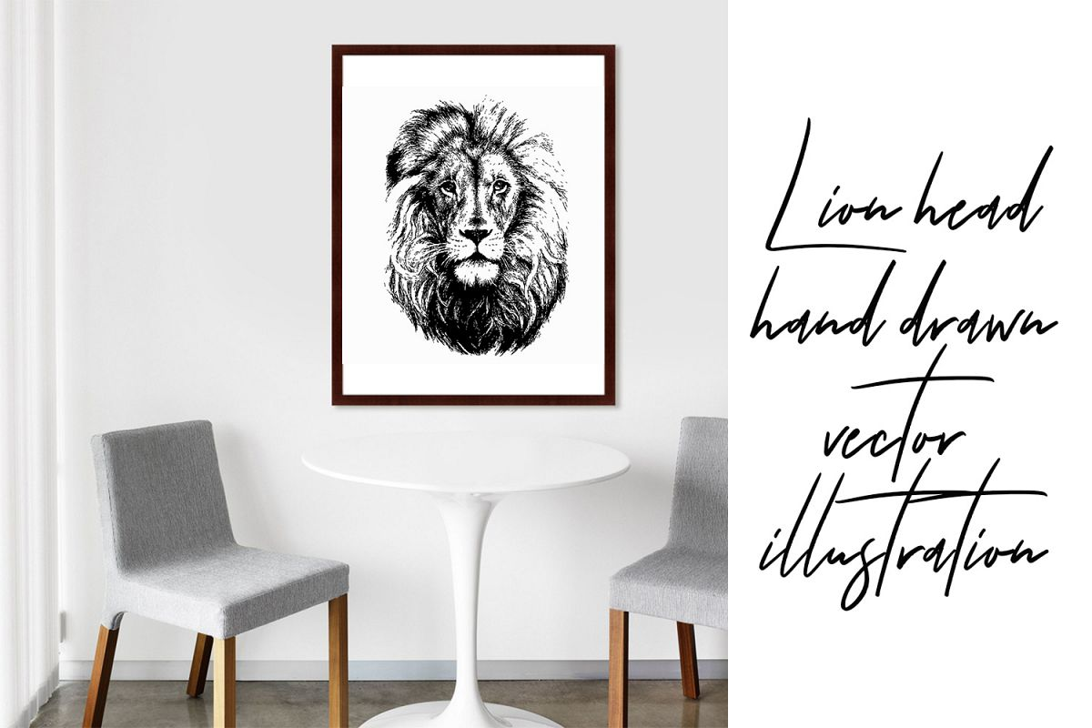Lion head hand drawn silhouette, vector illustration example image 1