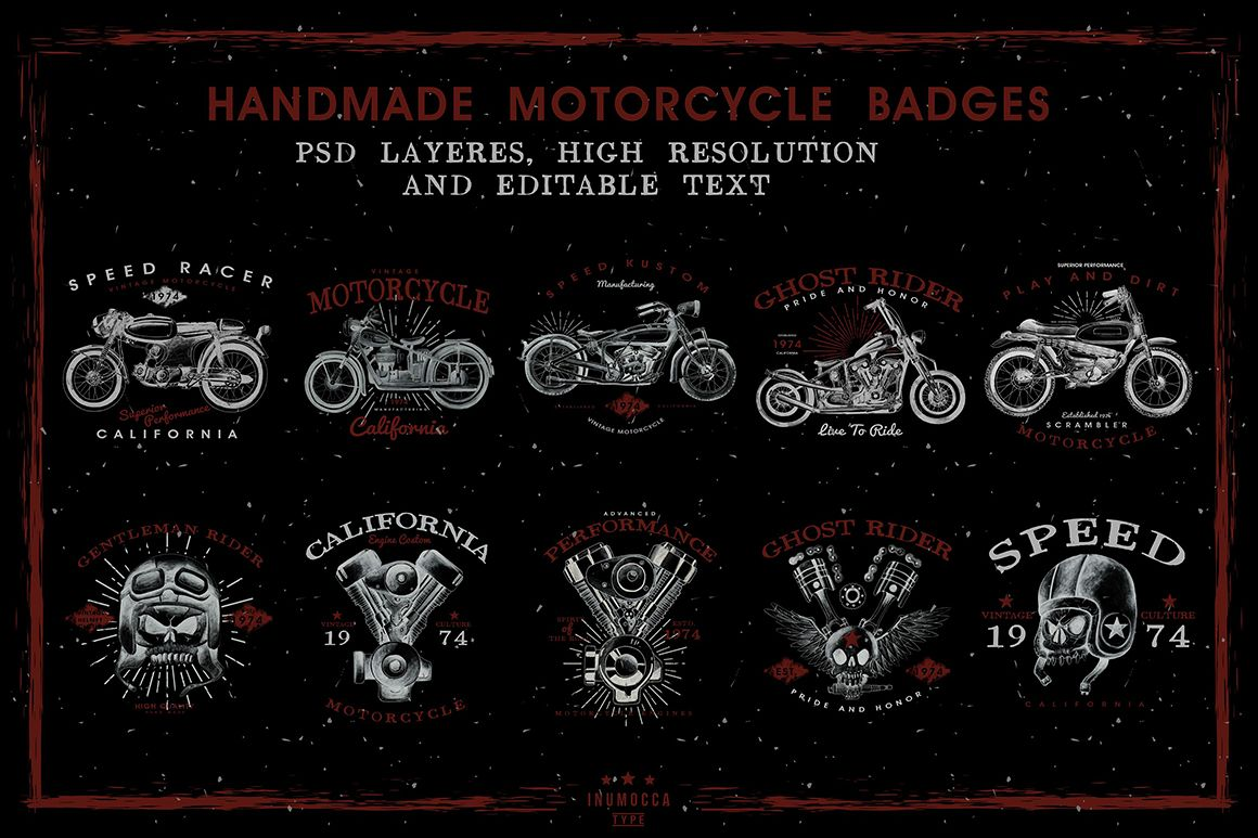 HandDraw Vintage Motorcycle Badges example image 1