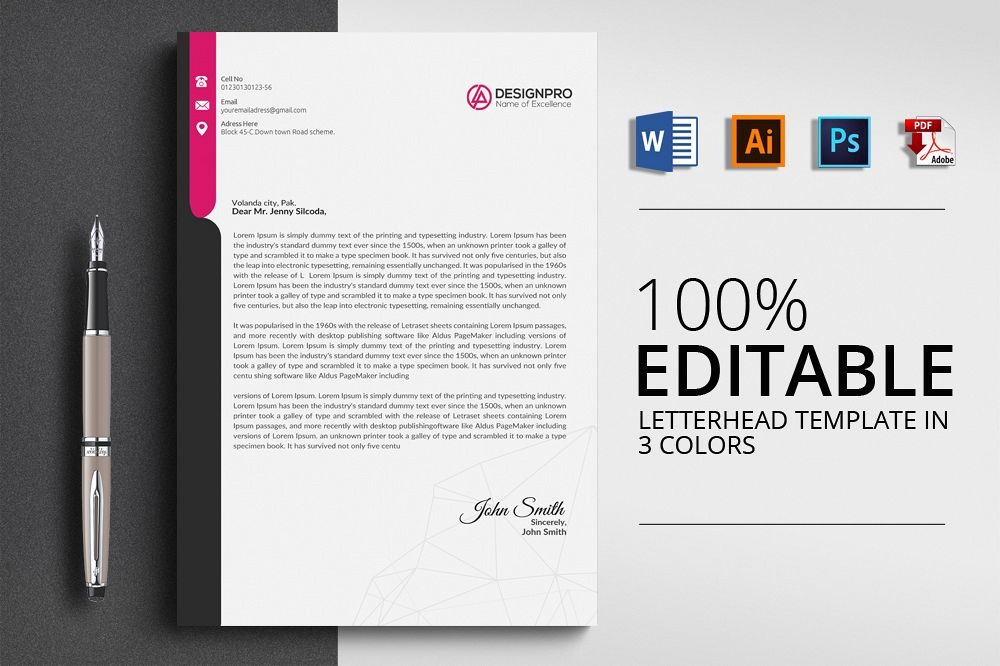 simple letterhead template by designhub design bundles