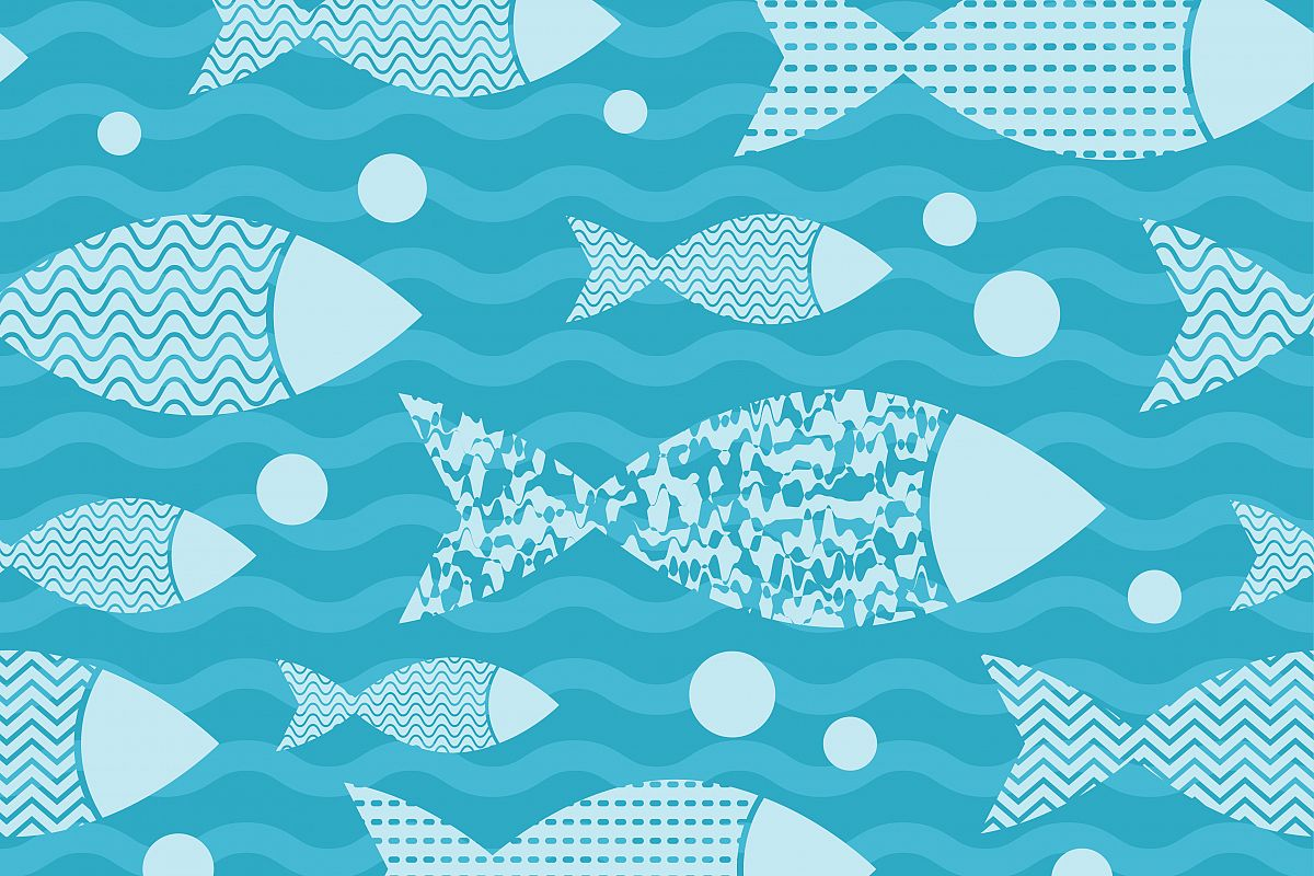 Seamless vector background with decorative fish in the sea. Vector illustration. Flat design.  example image 1