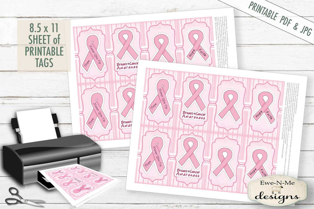 graphic about Printable Design titled Printable Breast Most cancers Tags - Purple Ribbon - PDF and JPG