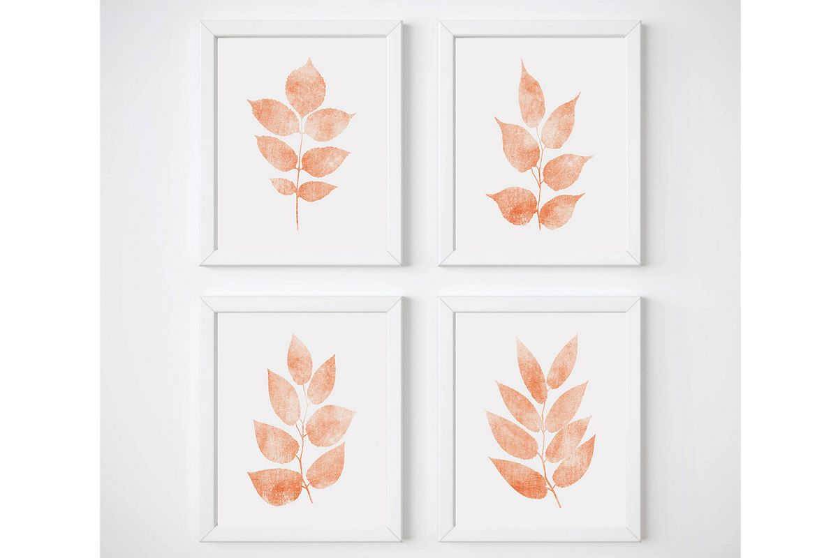 Coral Print Sets, Botanical Print Set of 3, Leaf Wall Art example image 1