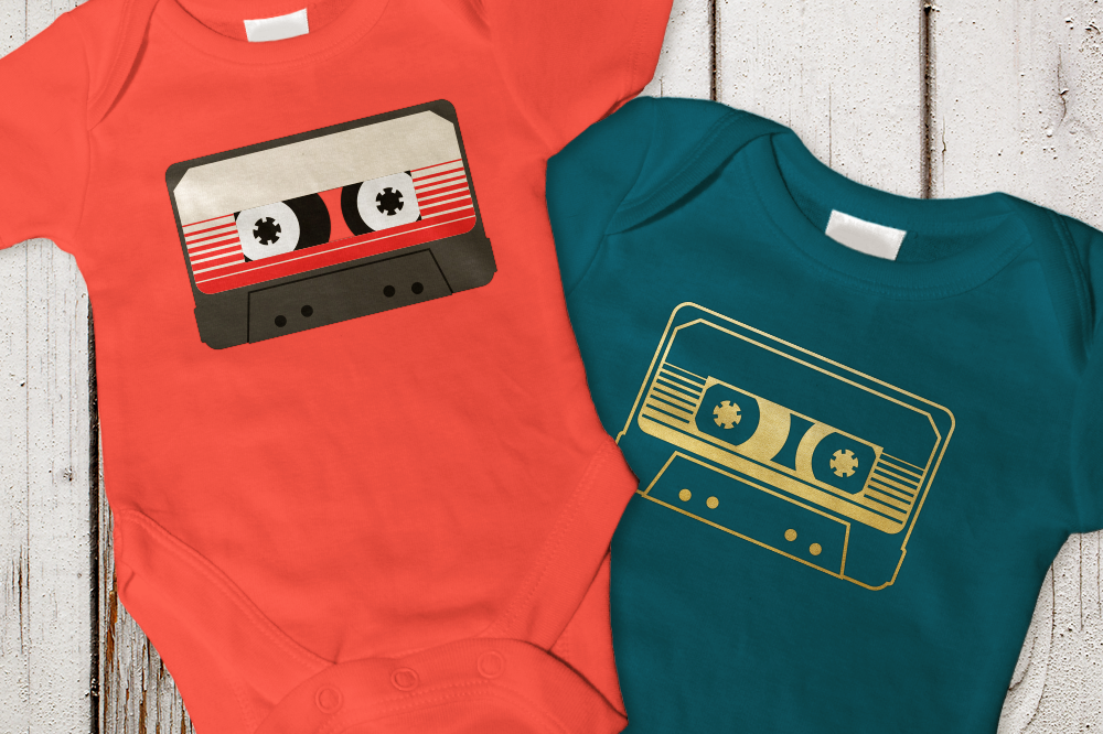 Retro Striped Mix Tape SVG File Cutting Template example image 1