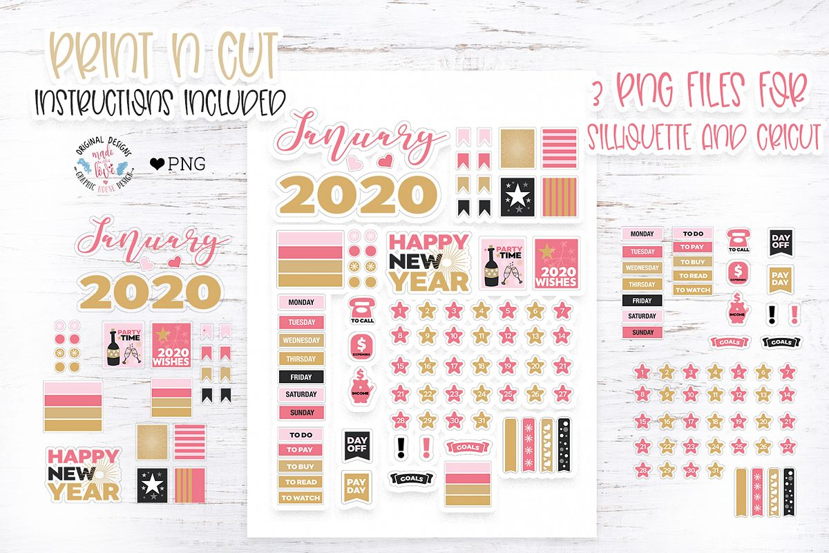 January Planner Stickers example image 1