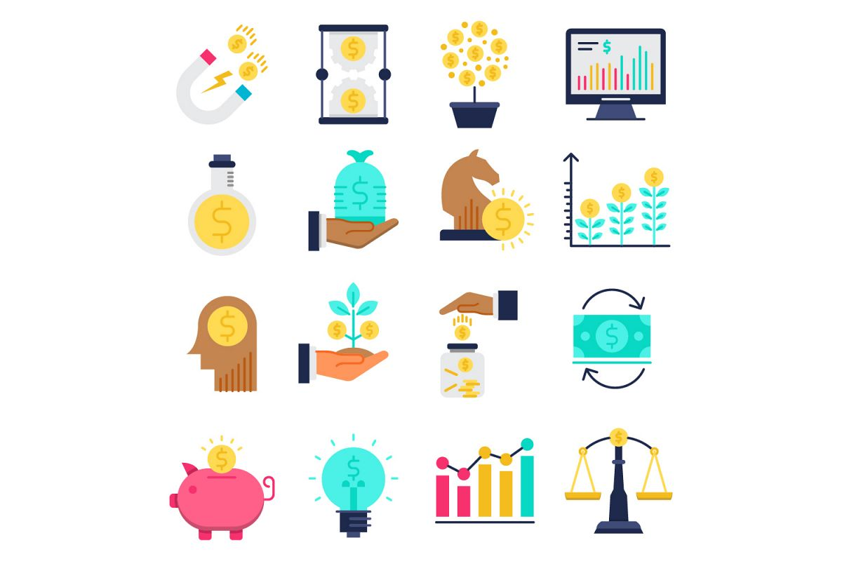 Investment flat icons set example image 1