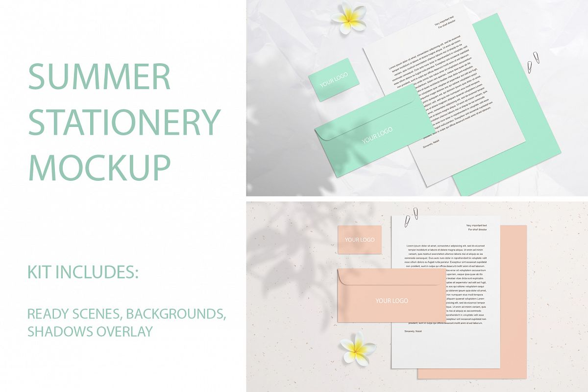 Summer Stationery Branding Mockup with Shadows example image 1
