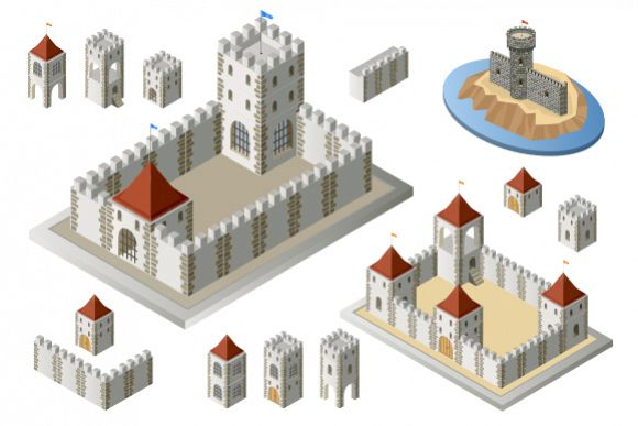 Fortress set vector Illustrations example image 1