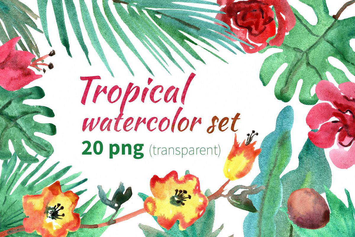 Tropical watercolor set example image 1