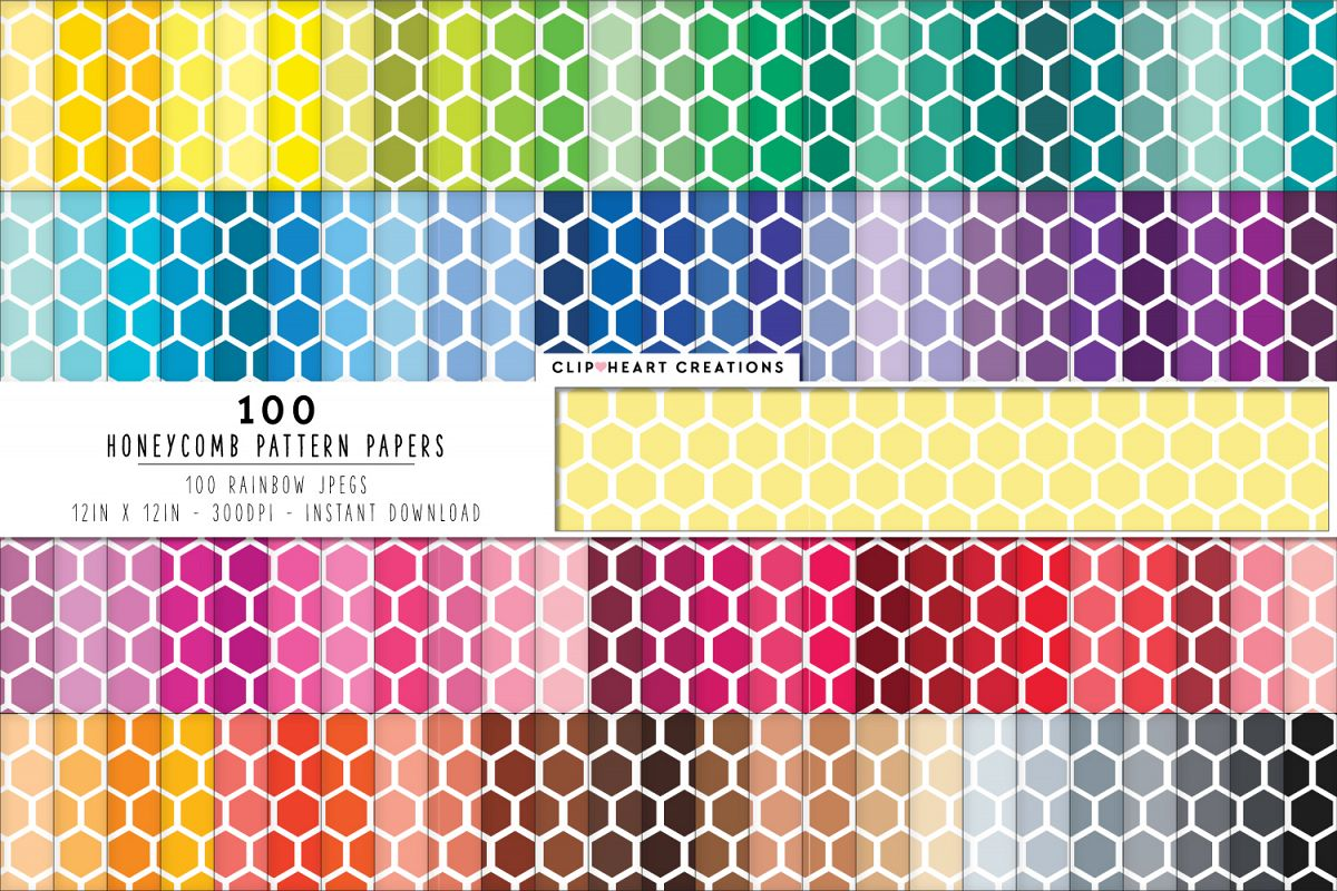 8fd5992fdfb20 100 Honeycomb Pattern Digital Papers - rainbow colors