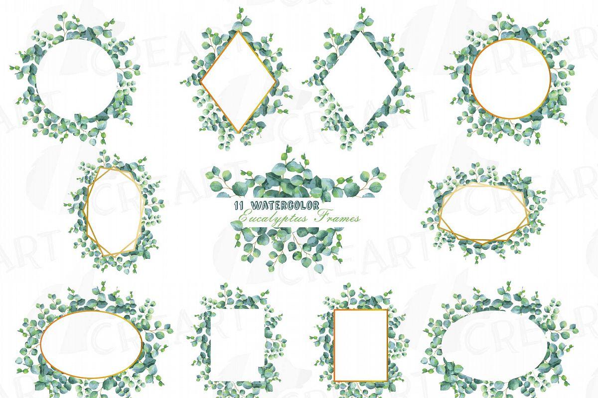 Eucalyptus frames watercolor clip art pack, Eucalyptus leaves design ...