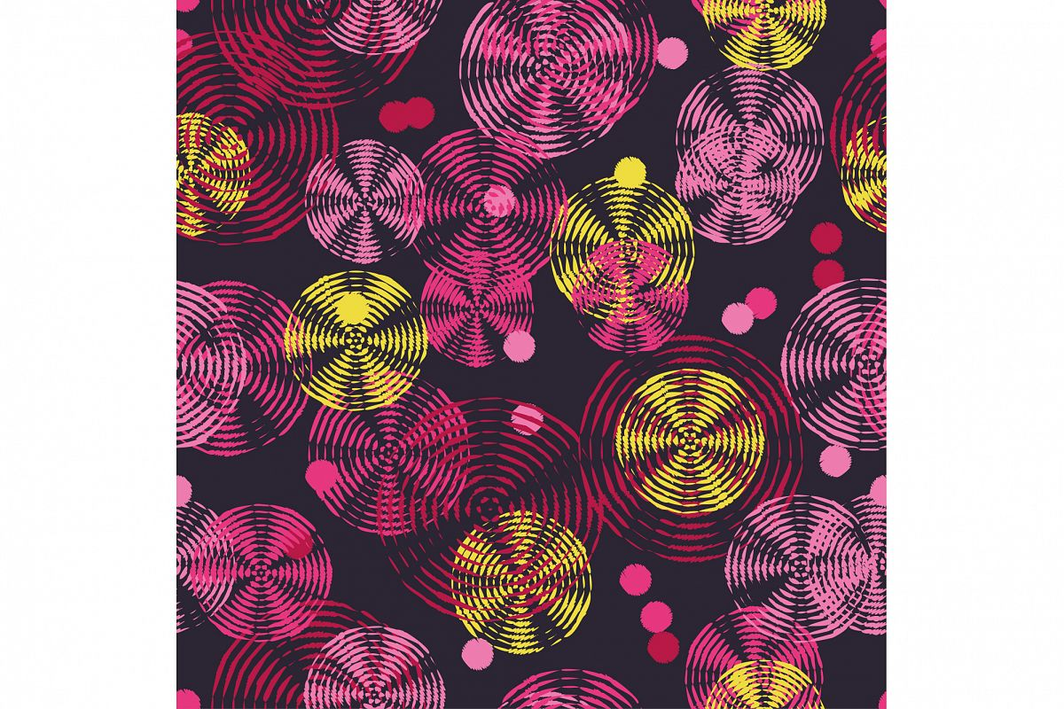 Seamless vector decorative background with rings and polka dots. Print. Cloth design, wallpaper. example image 1