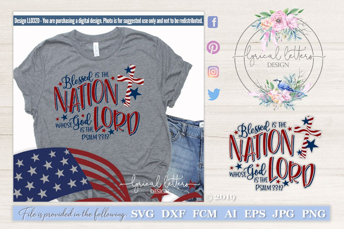 NEW! Blessed is the Nation Psalm 33 Patriotic SVG DXF example image 1