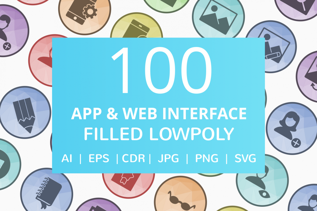 100 App & Web Interface Filled Low Poly Icons example image 1