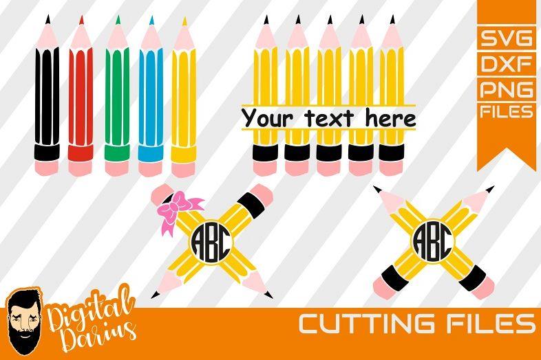 4x crayon monogram svg, back to school svg ,school svg, kids example image 1