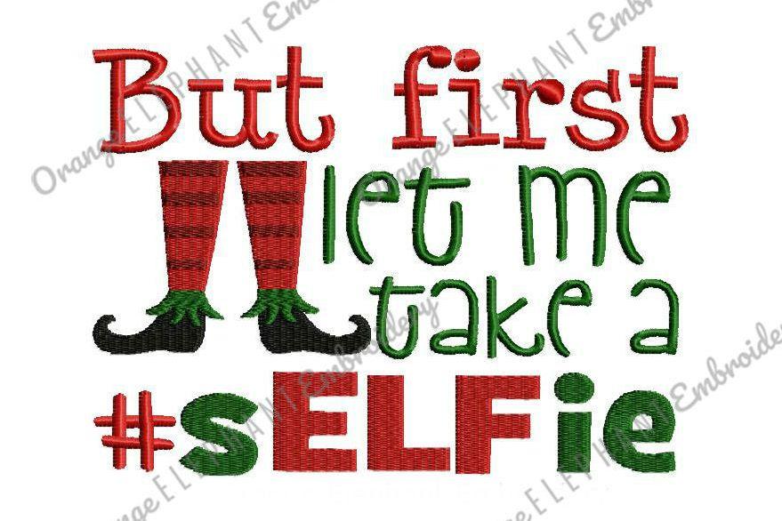 Christmas Elf Selfie Unique Urban Machine Embroidery Design Digital File