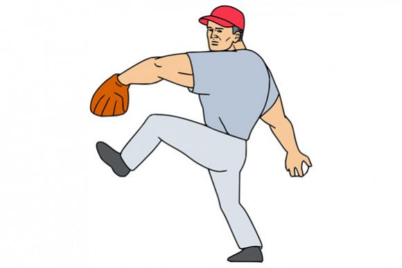 Baseball Player Pitcher Ready to Throw Ball Cartoon example image 1