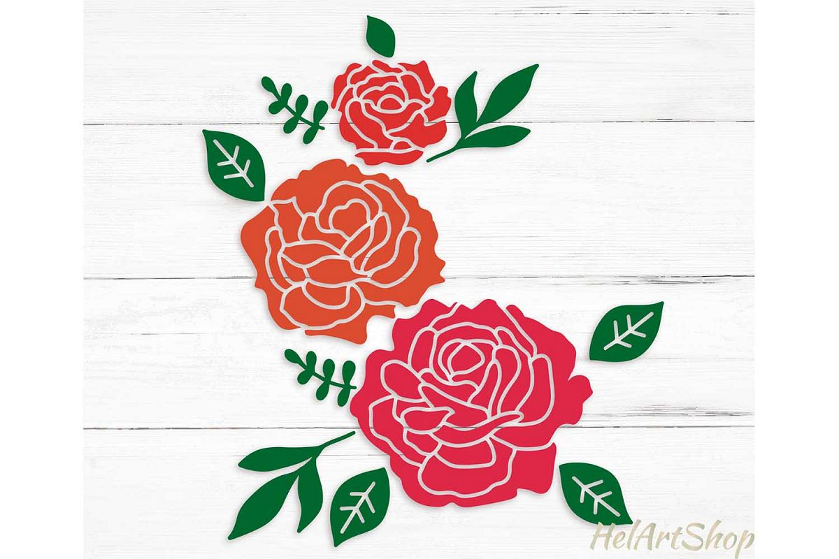 Roses svg, flower bouquet svg example image 1