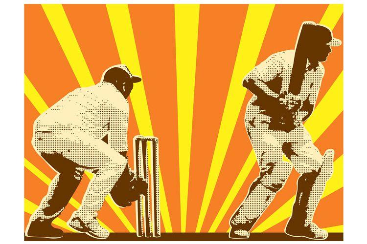cricket player batsman batting retro example image 1