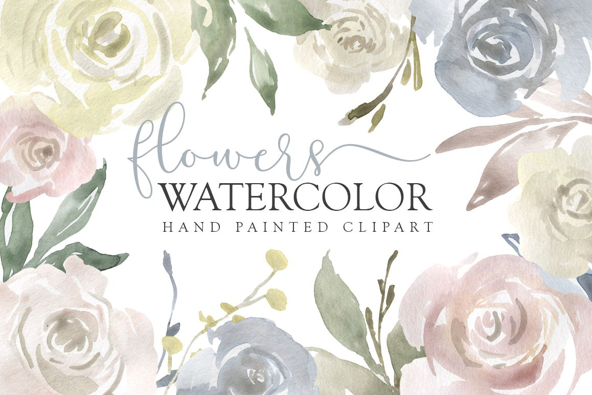 Watercolor Flowers, Bouquets, Frames Light PNG Clipart example image 1