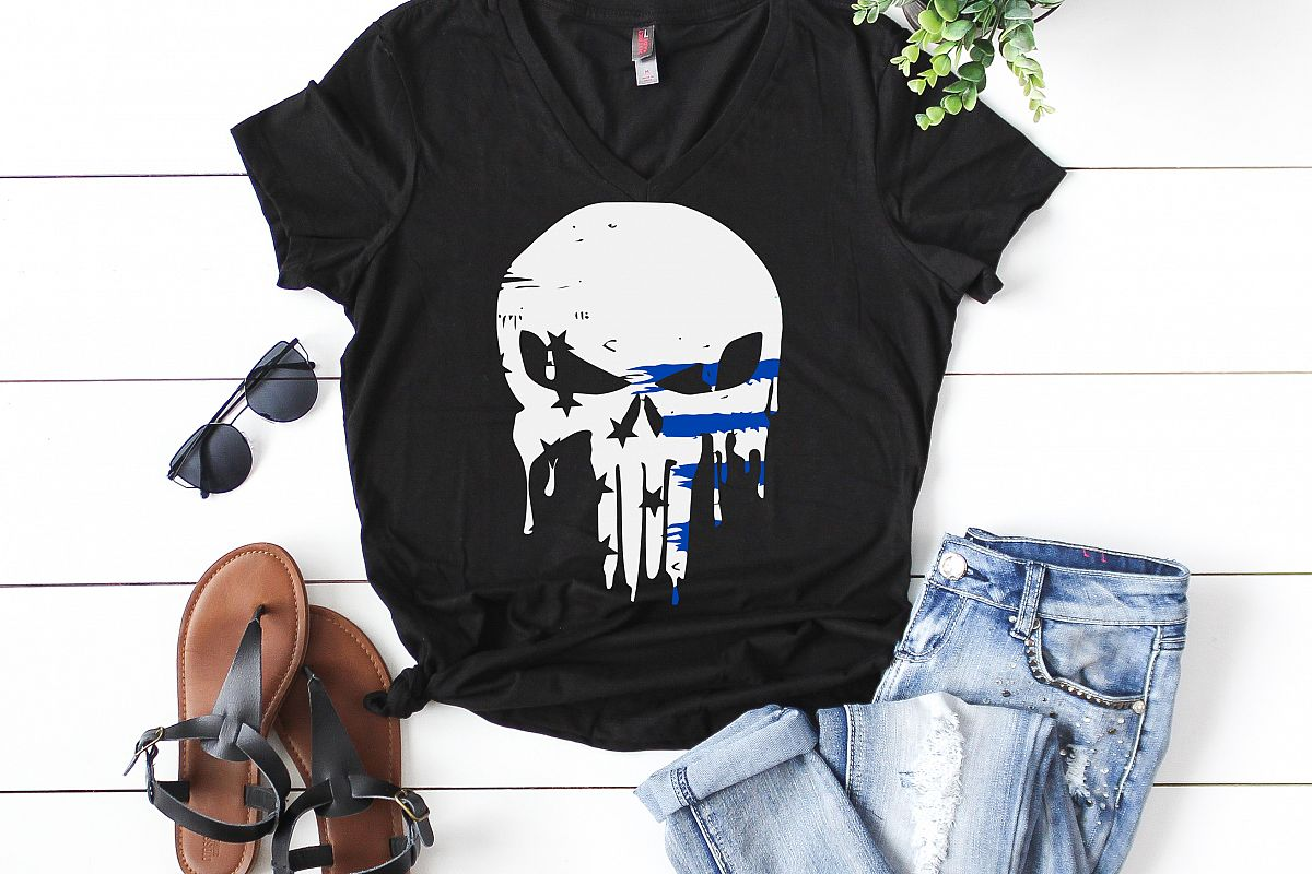 skull thin blue line white distressed  example image 1