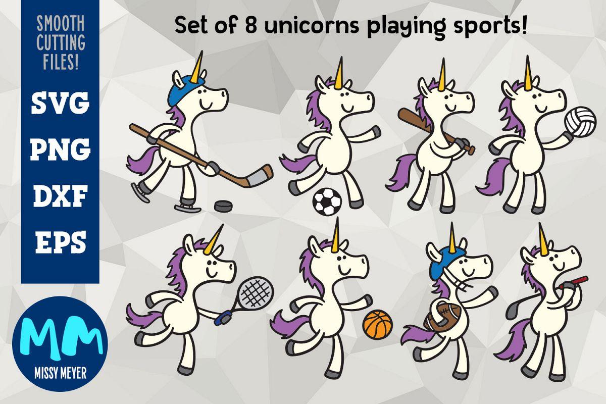Unicorns Playing Sports - set of 8 unicorn cartooons example image 1