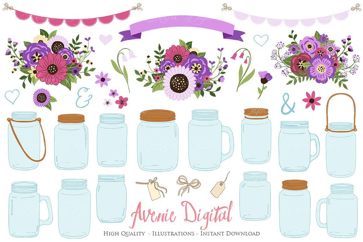 Purple Mason Jar Floral Wedding Clipart Example Image