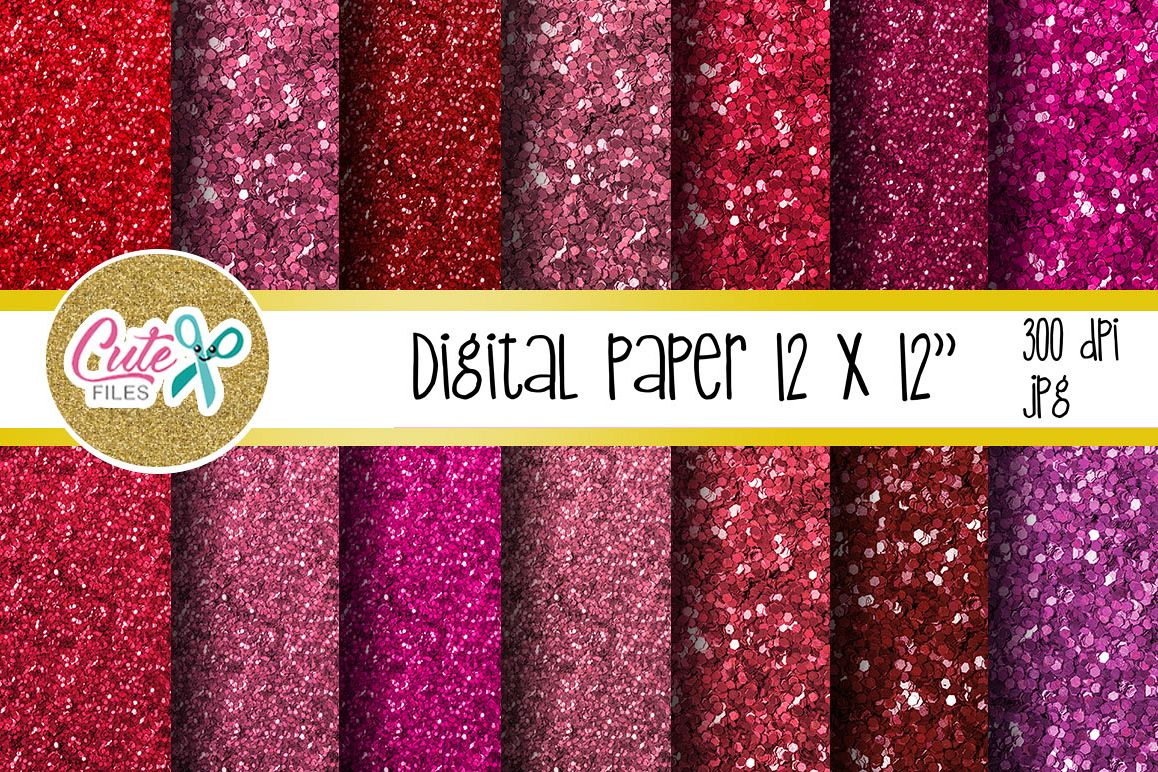 Glitter pink and red valentines day Digital papers example image 1