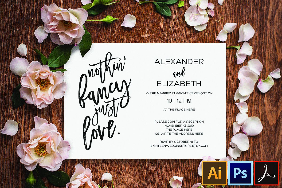 Elopement reception invitation, nothin fancy just love example image 1
