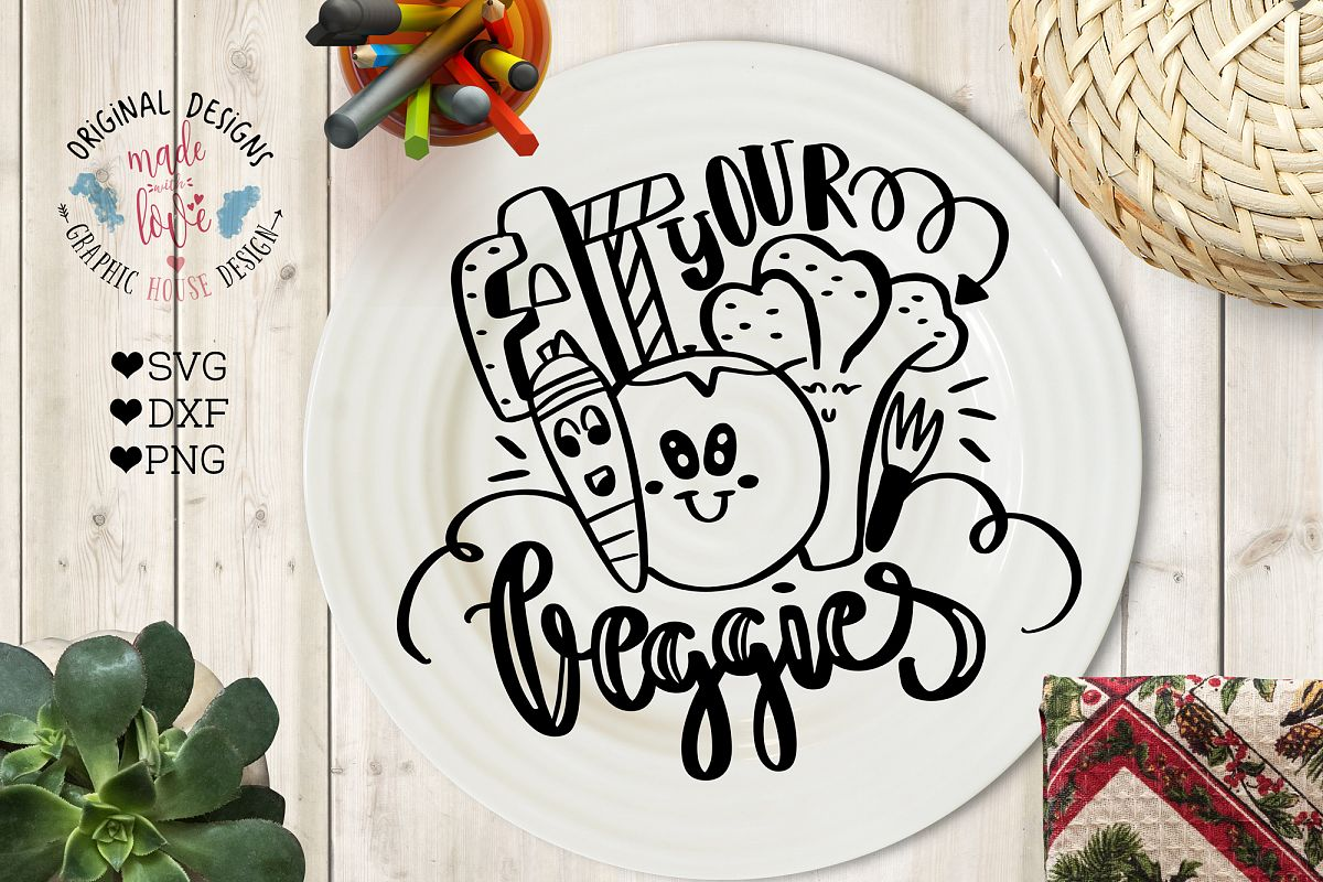 Eat Your Veggies Cut File and Printable (SVG, DXF, PNG) example image 1