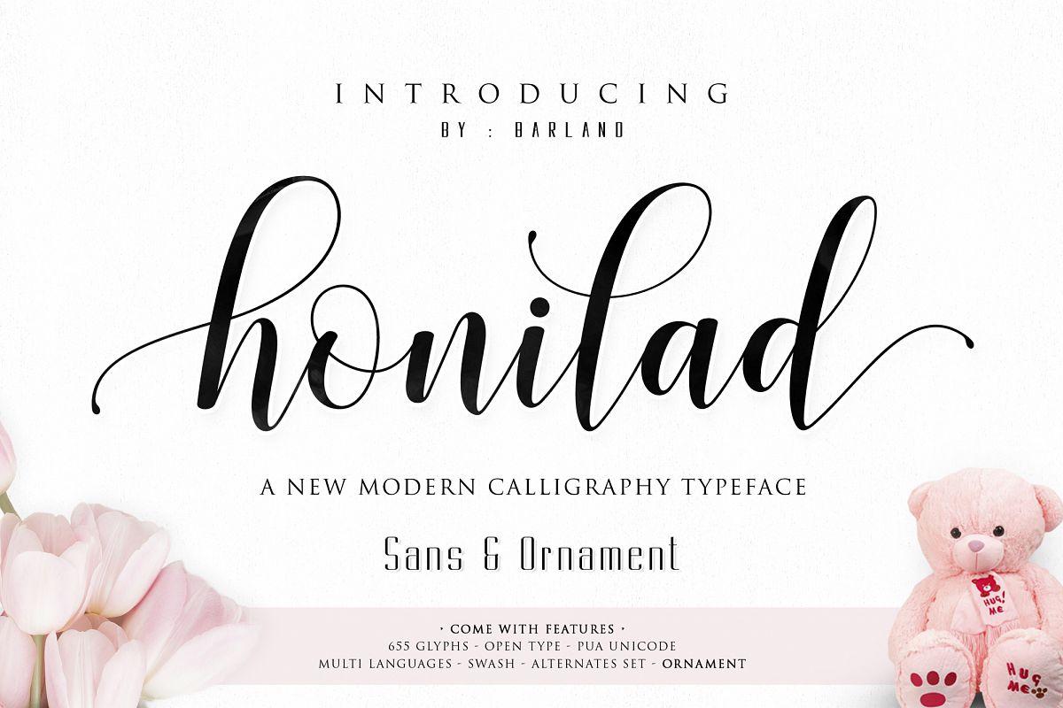 Honilad Script + Sans & Ornament example image 1