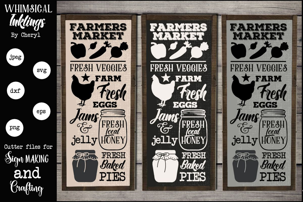 Farmers Market Vertical Sign SVG example image 1