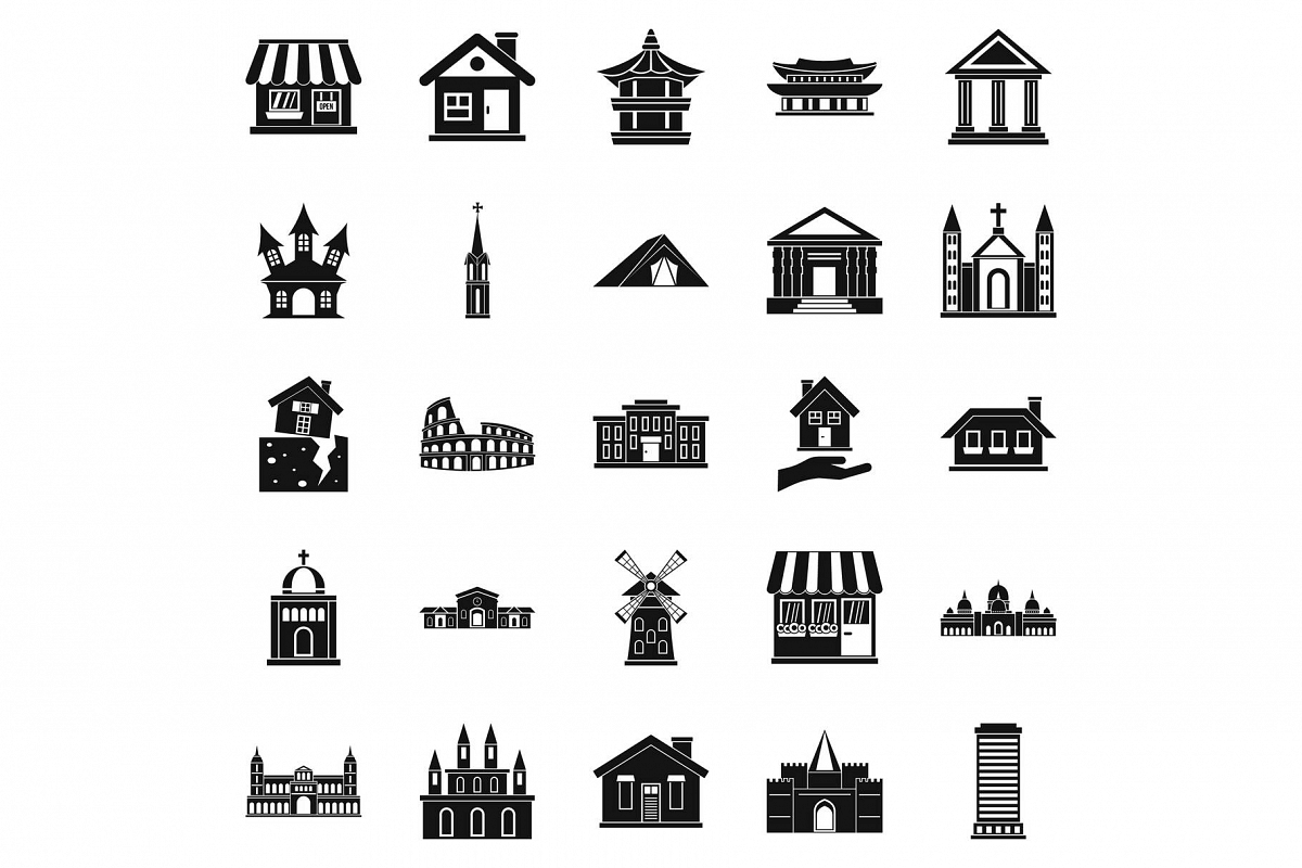 Construction site icons set, simple style example image 1