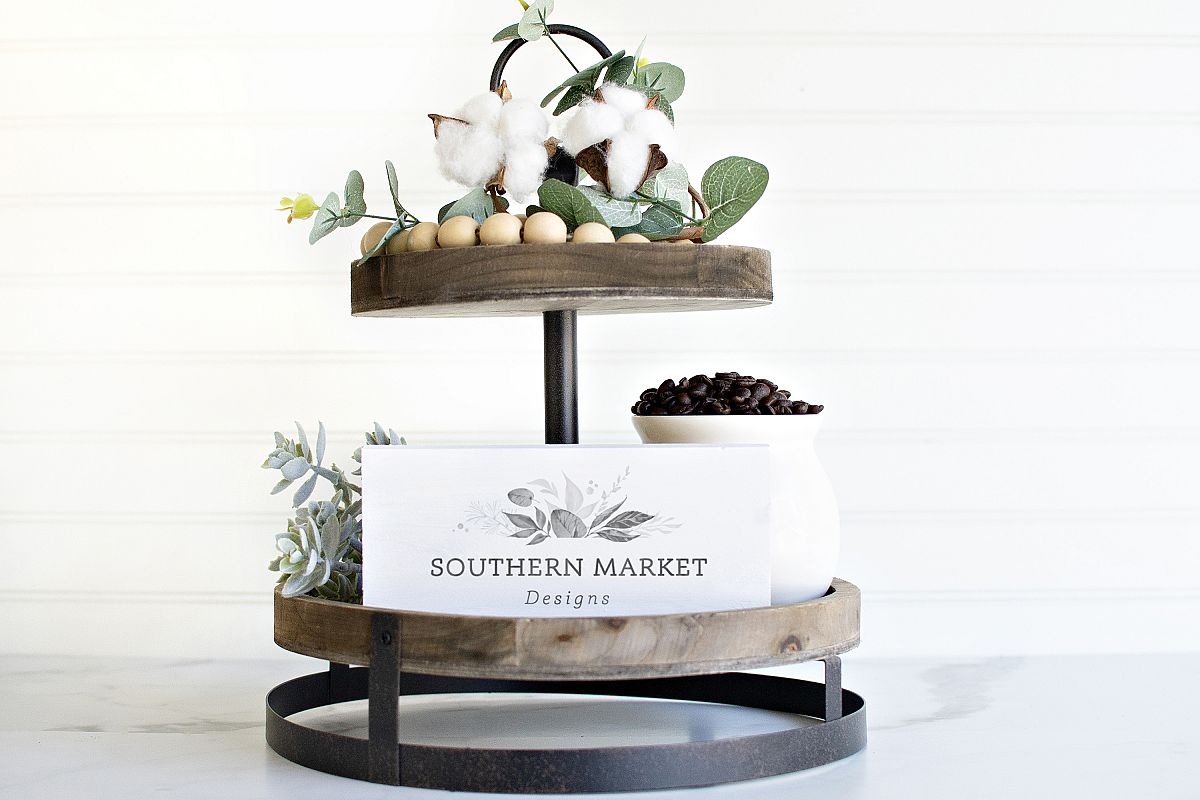 4x6 Tiered Tray Wood Sign Digital Mock Up Styled Photo example image 1