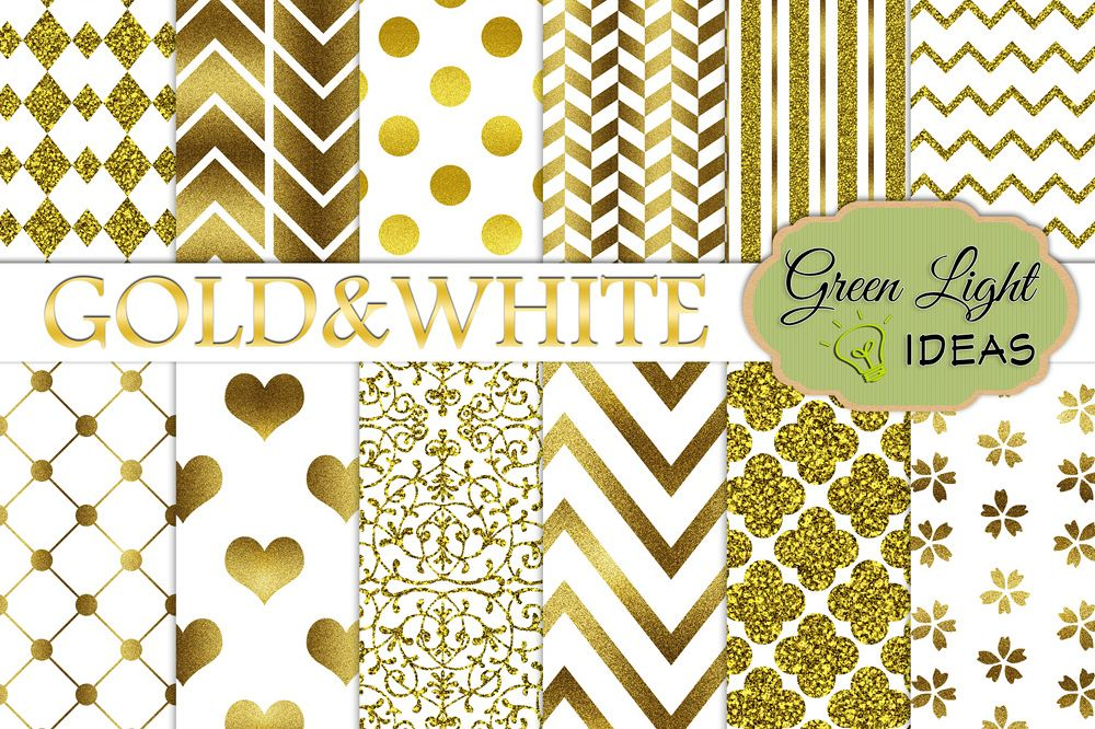 Gold And White Digital Papers example image 1