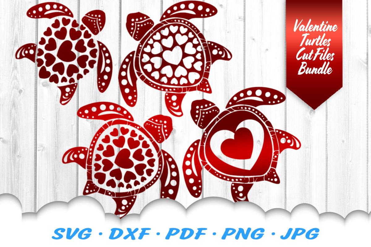Valentines Sea Turtle Heart Mandala SVG DXF Cut Files example image 1