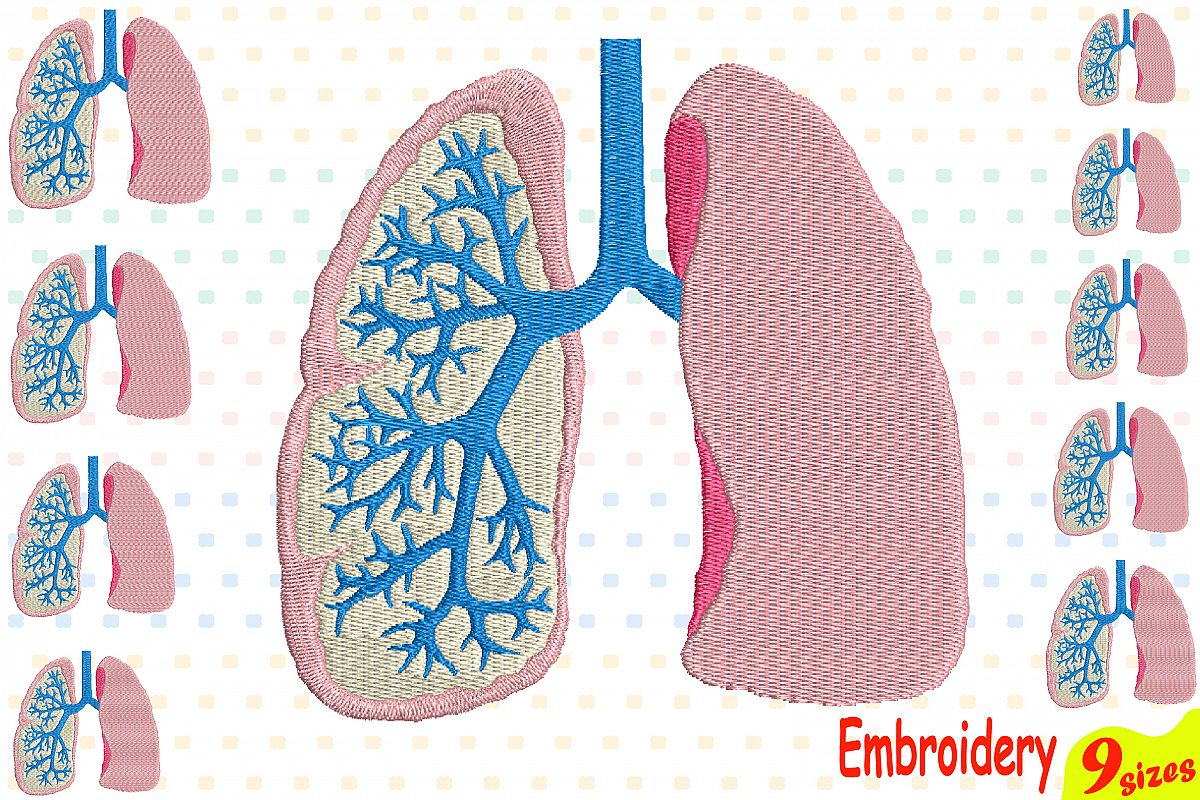 db2a6aeb5ca Lungs Embroidery Design Machine Instant Download Commercial Use digital  file icon science school hospital biology Medic